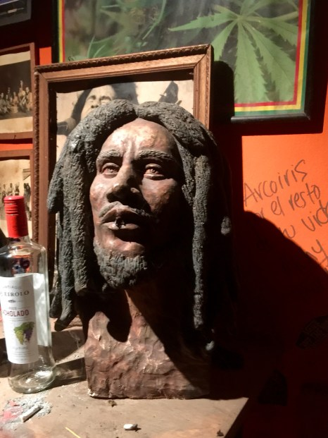 Bob Marley statue with a real joint in its mouth