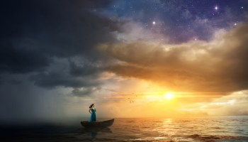 A Dreamlike environment, where a woman escapes the oncoming storm to find solace in the sunset.