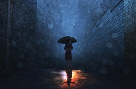 A woman in a rain storm has a sunny reflection.