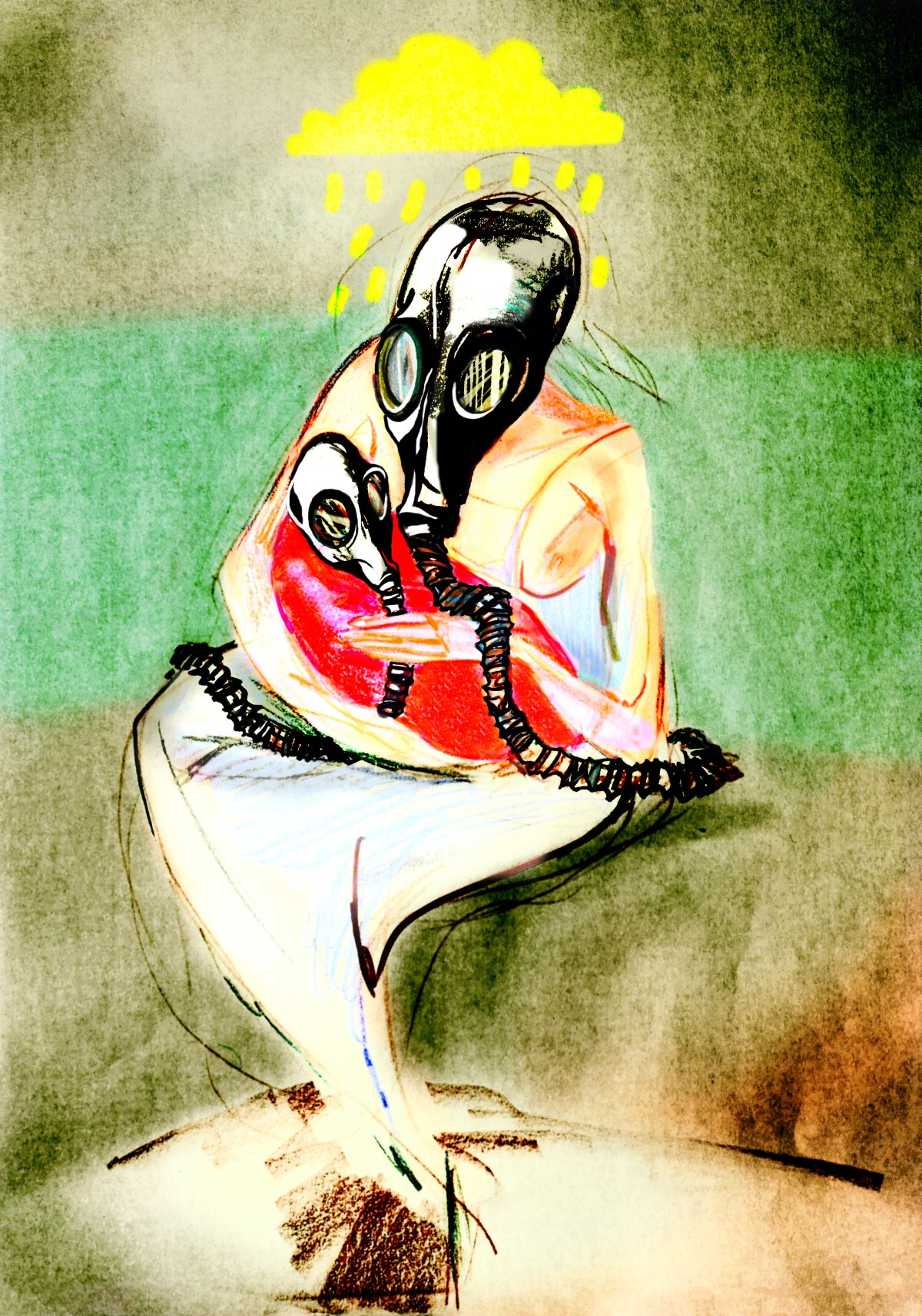 Mother in gas mask, holding her baby in gas mask