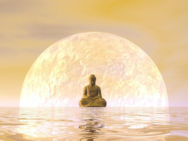 Buddha meditation by orange night - 3D render