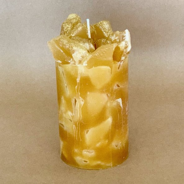Gold Vanilla Pina Colada Scented Pillar Candle