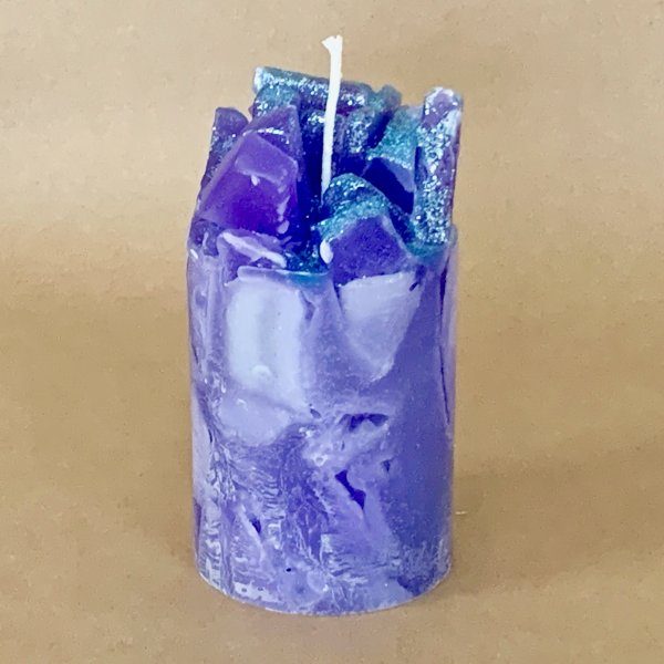 Lavender Lemon Scented Pillar Candle (Prisms)