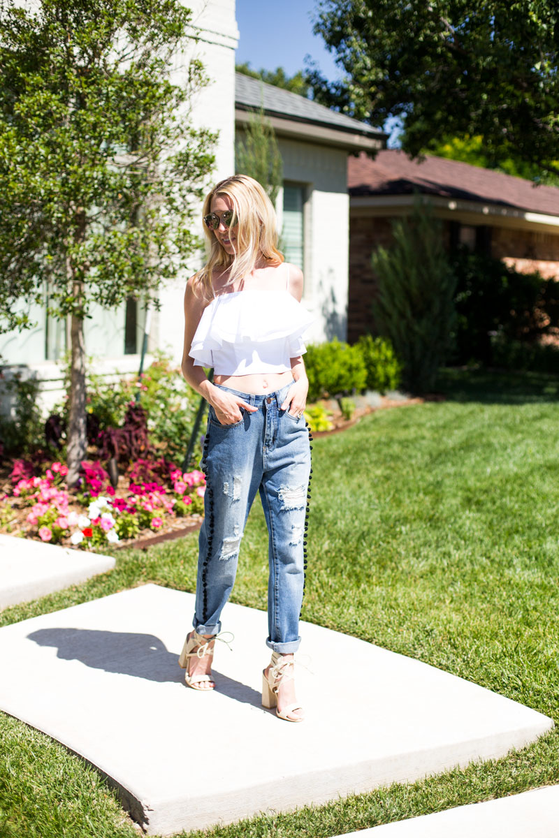 pom pom jeans - white ruffle top - summer style - body insecurities after baby