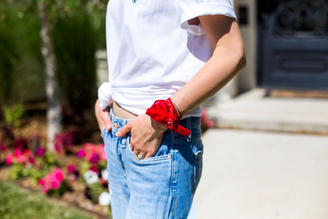 red july 4th accessories - red bandana - casual wear