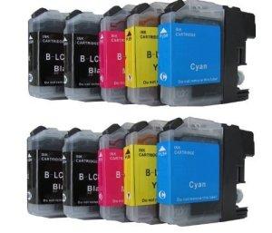 10 komp. Druckerpatronen mit Chip für Brother MFC J245 J470DW J650DW J870DW J4410DW J4510DW J4610DW J4710DW J6520DW J6720DW J6920DW Brother DCP J132W J123WG1 J152W J552DW J752DW J4110DW 4 x schwarz 2 x blau 2 x rot 2 x gelb