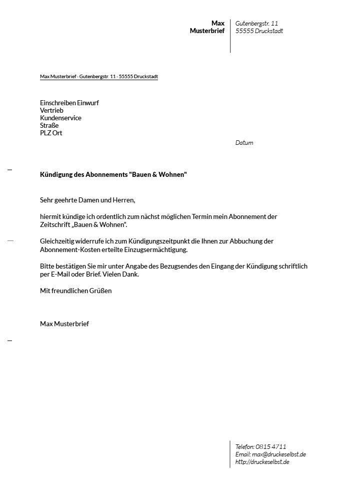 Drucke selbst Kostenlose Vorlagen fr Kndigungsschreiben