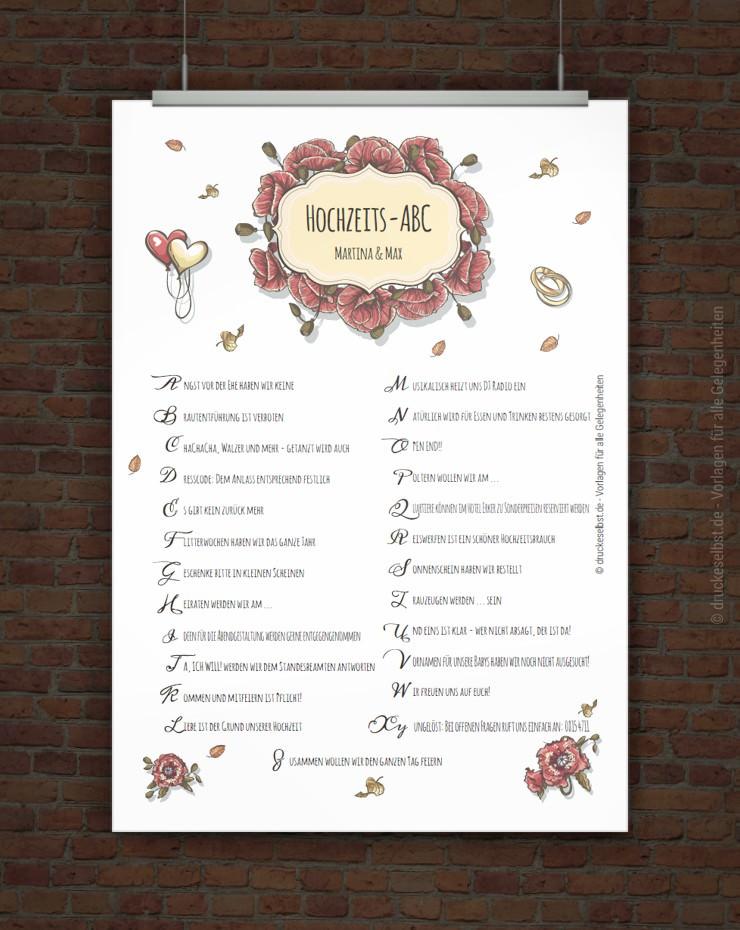 Drucke selbst Kostenloses HochzeitsABC zum Ausdrucken