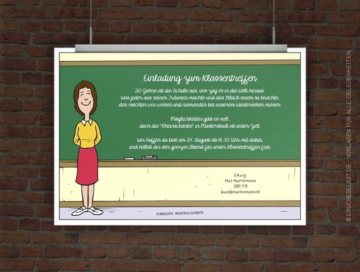 Drucke Selbst Kostenlose Einladung Zum Klassentreffen Zum