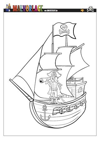 Drucke selbst! Piratenschiff zum Ausmalen