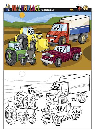 Drucke selbst! Autos und andere Fahrzeuge zum Ausmalen