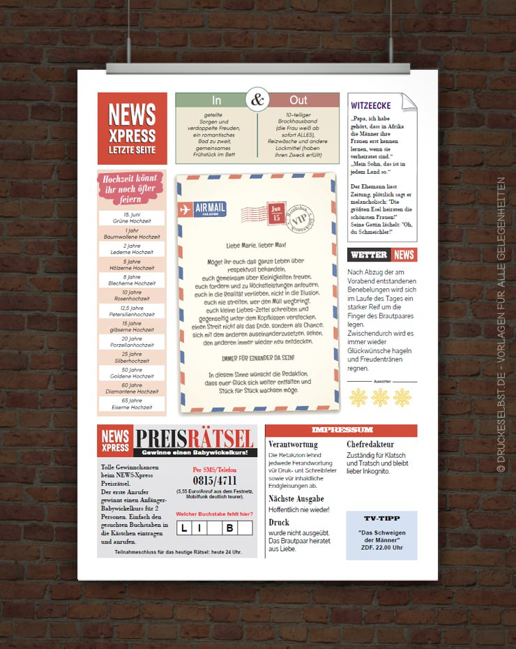 Drucke selbst Vorlage Hochzeitszeitung im Zeitungsstil
