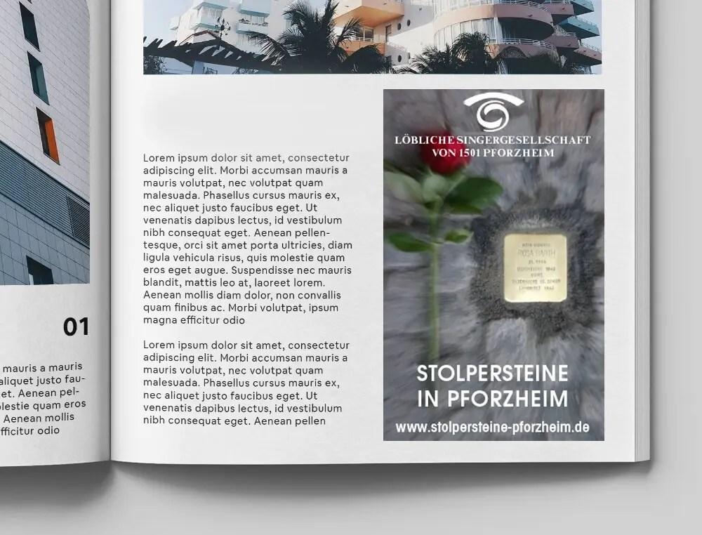 Portfolio Stolpersteine Anzeige