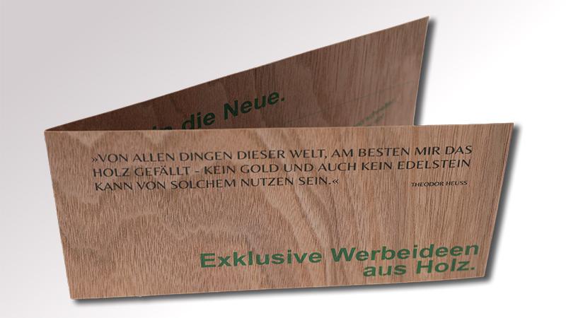 Klappkarte aus Holz von Druck+Medien Heiligenhaus