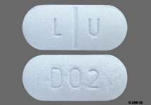 Blue Pill With Lu On One Side And 002 On The Other - MedsChat