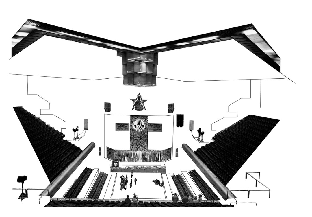 Dubravka Sekulić, Konferencija u Harareju 1986, iz serije crteža/kolaža, 2021