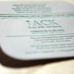 Letterpress druk op grijsbord geboortekaartje
