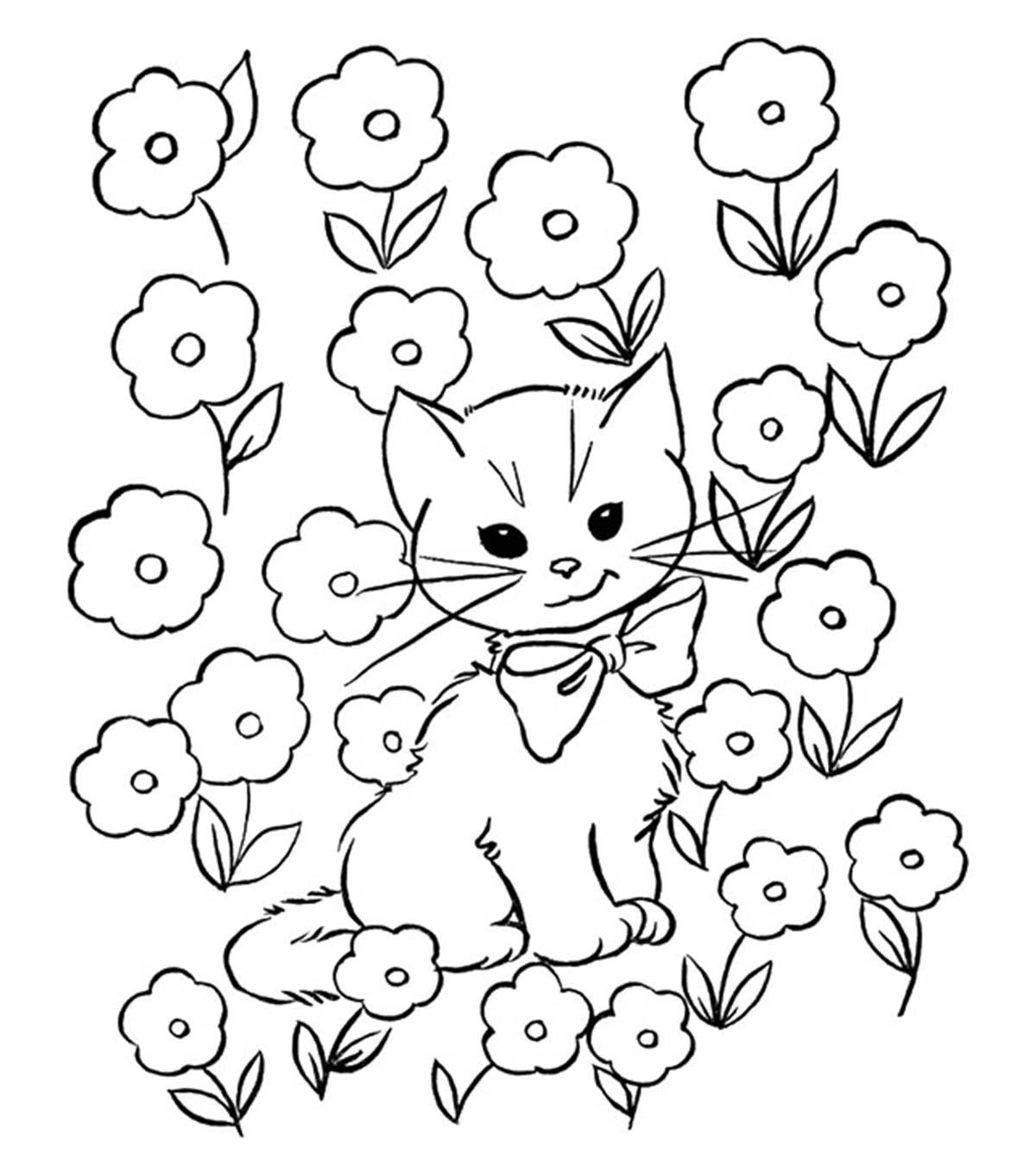 Kolorowanka Kot W Li Ciach Kwiatow Do Druku
