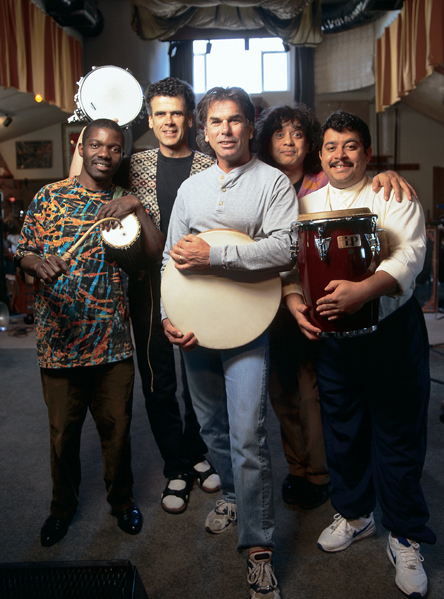 Left to right: Sikiru, Gavid Garibaldi, Mickey Hart, Zakir Hussein, Giovanni Hidalgo