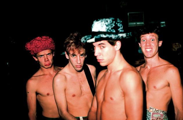 MINNEAPOLIS, MN - JANUARY:  Rock band The Red Hot Chili Peppers (L-R) Flea, John Frusciante, Anthony Kiedis, Jack Irons pose for a portrait backstage at First Ave Nightclub in Minneapolis, Minnesota after their show in January 1987. (Photo by: Jim Steinfeldt/Michael Ochs Archives/GettyImages)