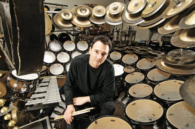 Terry Bozzio with drum set
