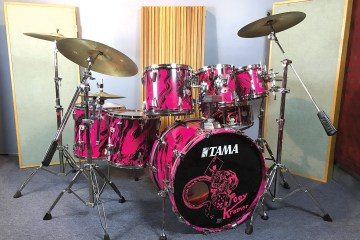 Aerosmith's Joey Kramer's pink 1980s Tama drum set