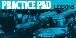 practice pad lesson drum set with blue background