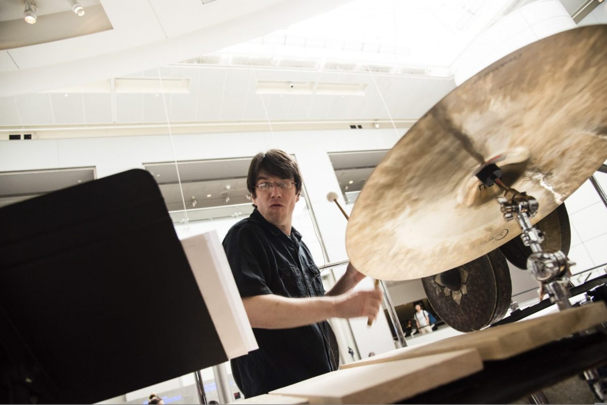 photo of percussionist Greg Beyer by Kris Connor/Getty Images for NAMM