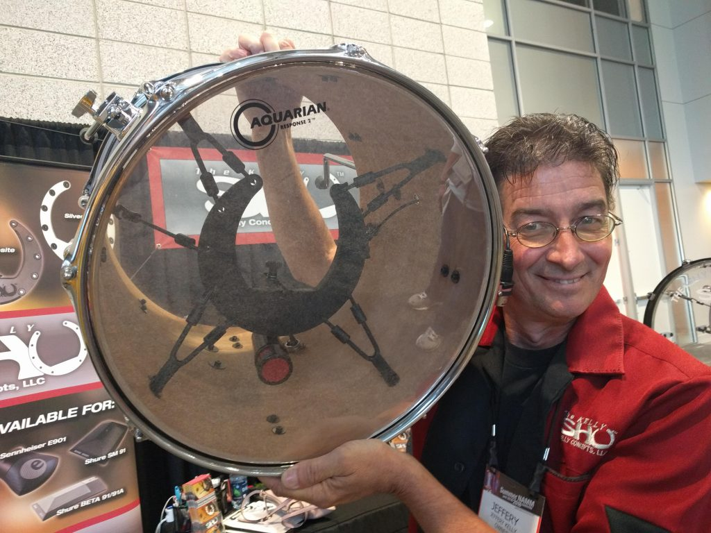 Kelly Shu founder Jeff Kelly shows a prototype of his new internal tom mount.