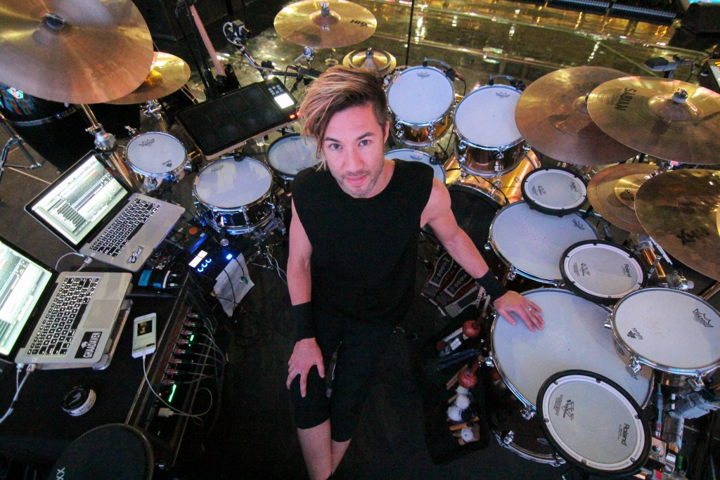 Brendan Buckley with his hybrid drum set on tour with Shakira before her San Jose, Calif. performance.