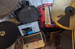 skype drum lessons drums and laptop