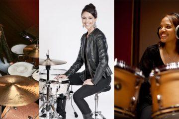 female drummers emanuelle caplette, jordan west, terri lyne carrington