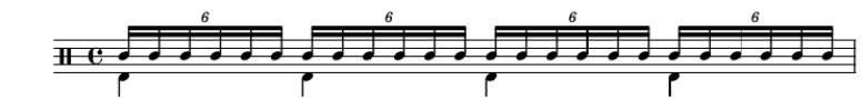Sextolet double croche - 6 par temps - 24 par mesure (mesure en 4/4)