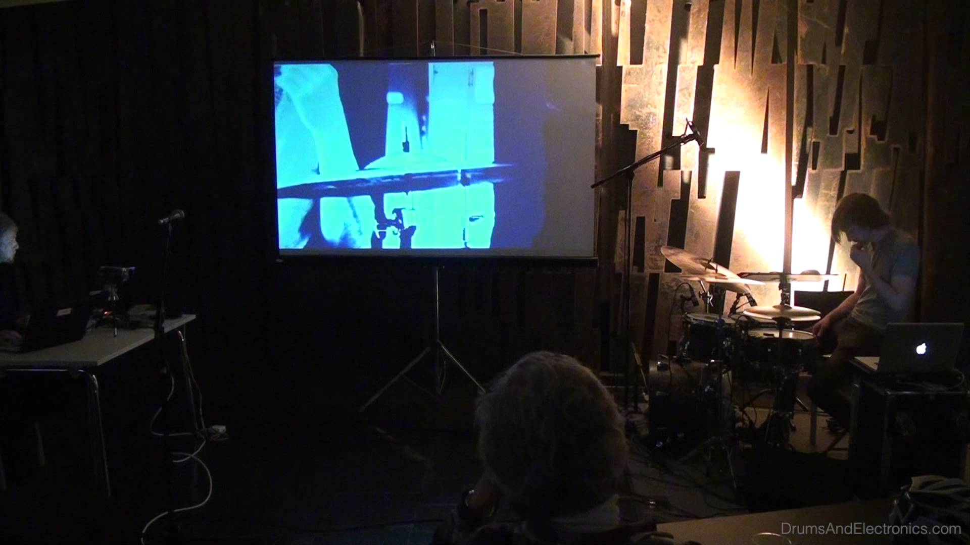 Performing with live improvised visuals, drums and electronics