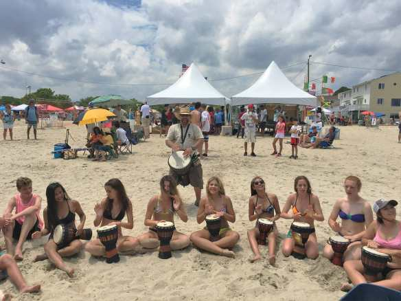 Group Drumming on the Beach