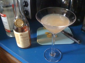 A cocktail glass containing a Sidecar made with Chalfonte Cognac and Cointreau