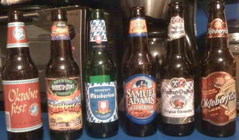 6 Octoberfest-type beers: Brooklyn Brewing Oktoberfest; Blue Point Brewing Co. Oktoberfest; Spaten Oktoberfest; Samuel Adams Octoberfest; Hacker-Pschorr Original Oktoberfest; JosephBrau Brewing Co Oktoberfest Lager