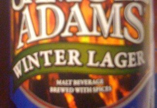 "A blurry close up of a Samuel Adams Winter Lager, highlighting the ""Malt Beverage Brewed with Spices"" fineprint"