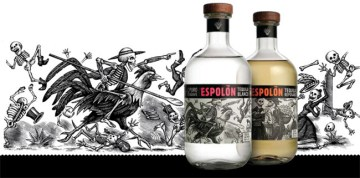 PR image for Espolón, showing the blanco and reposado bottles with the label artwork in background
