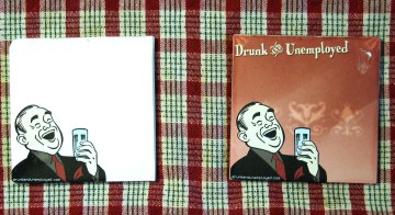 White and copper glass Drunk & Unemployed coasters