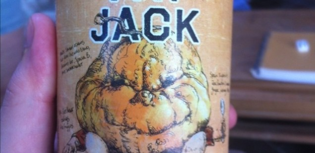 Held bottle of Samuel Adams Fat Jack displaying the label.