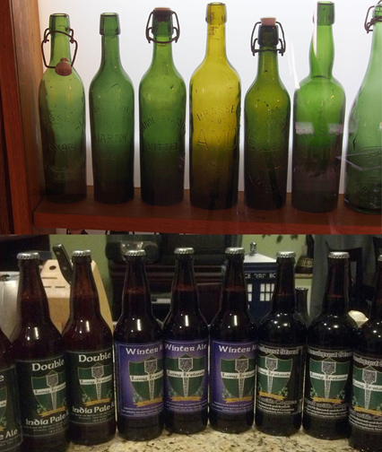 Top: Antique beer bottles from the Musée Européen de la Bière collection. Bottom: 22oz bottles from the Long Ireland Beer Company.