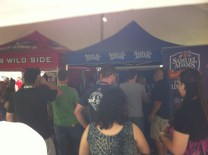 Folks congregate around the Samuel Adams tent at Toronto's Festival of Beer.