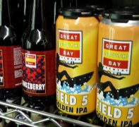Cans of Great South Bay Field 5 Golden IPA