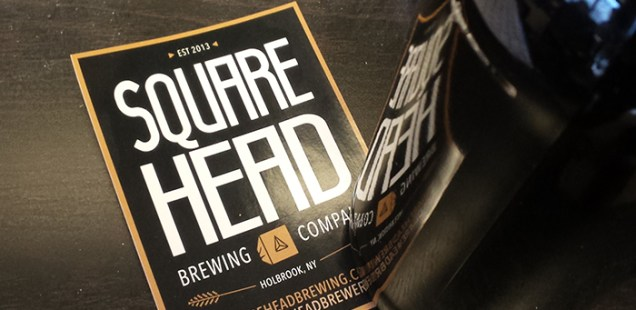 A Square Head Brewery sticker with a brown bottle covering the lower right corner