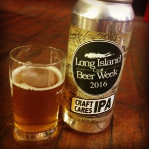 A can of Long Island Beer Week 2016 Craft Cares IPA with a glass containing Craft Cares IPA