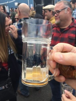 A plastic mug which fits about eight ounces from Blue Point Logger Lager 2016