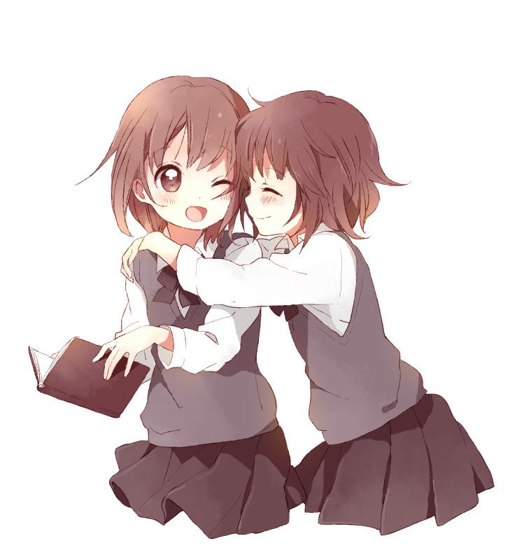 anime hug girls