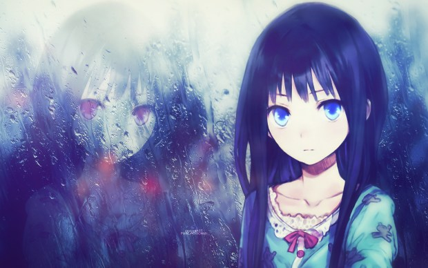 anime girl lonely rain