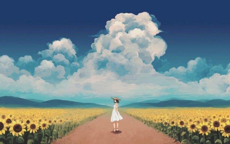 sunny-day-sunflowers-farm-anime-girl-original
